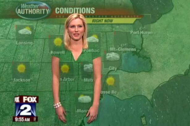 weather girl green dress